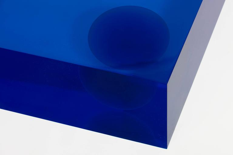 Faye Toogood [British, b. 1977] Element Table Resin / Blue, 2011 Crystal resin 7.75 x 39.25 x 39.25 inches 20 x 100 x 100 cm  Faye Toogood was born in the UK in 1977 and graduated with a BA in the History of Art in 1998 from Bristol University. She