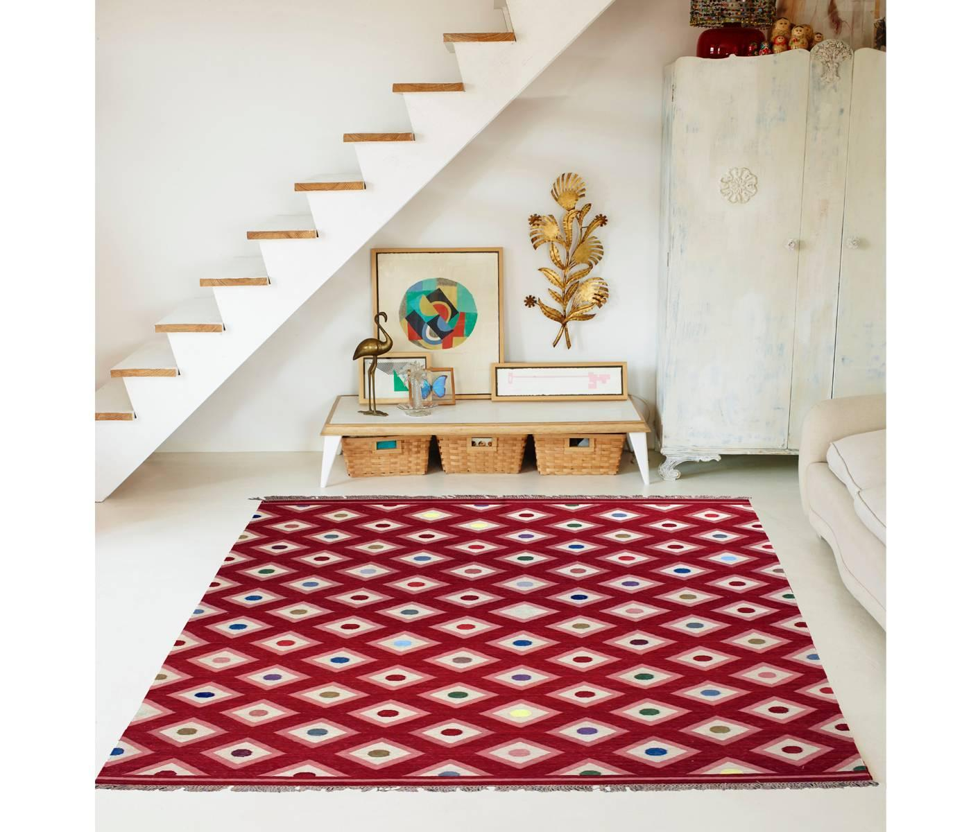Diamonds Pink And Red Kilim By Nuria Mora. For Sale at 1stdibs