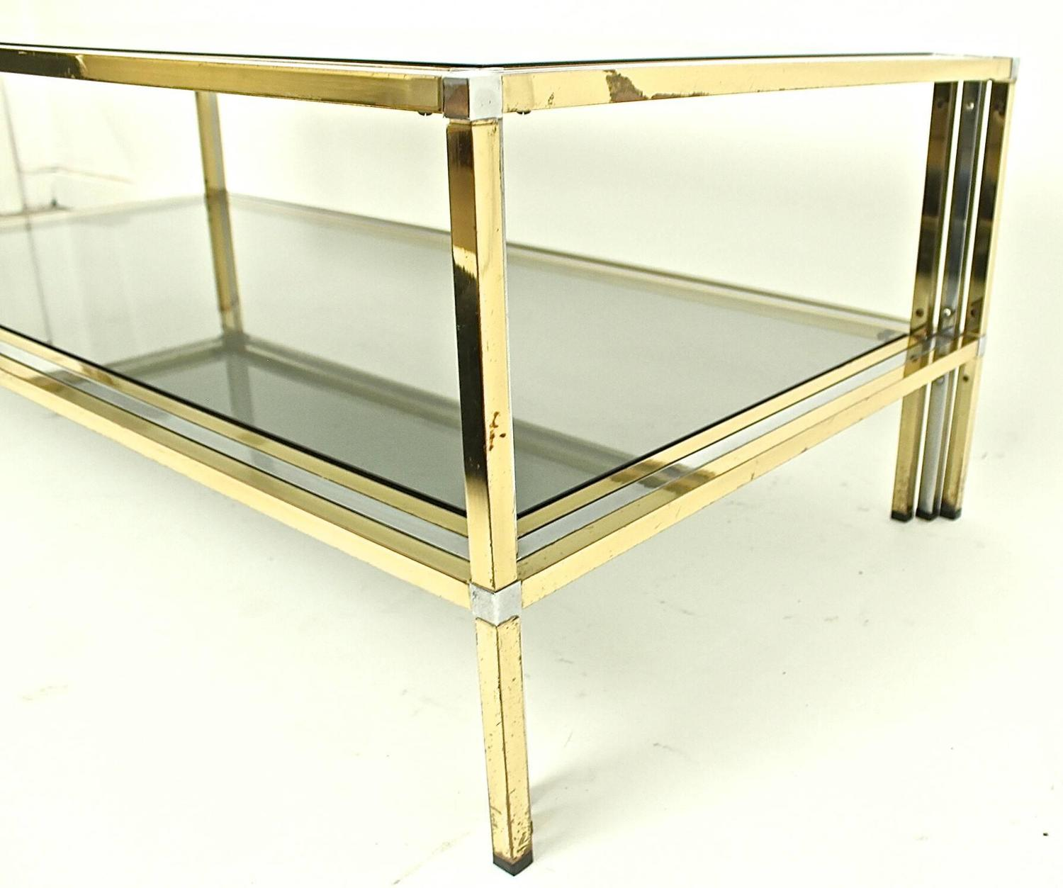 Brass And Polished Chrome Coffee Table At Jacques Adnet
