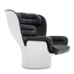 1963 White and Black Joe Colombo Elda Chair for Comfort