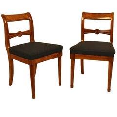 Pair of 19th Century Biedermeier Fruitwood Side Chairs