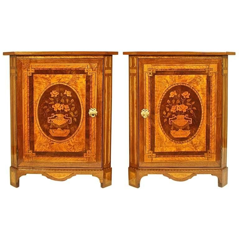 Pair of Louis XVI Marquetry Corner Cabinets in the Manner of Daniel Deloose