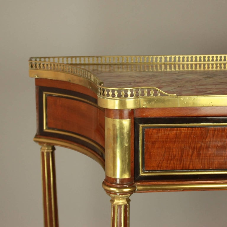 Directoire Louis XVI Gilt Bronze-Mounted Satinwood and Mahogany Console Table For Sale