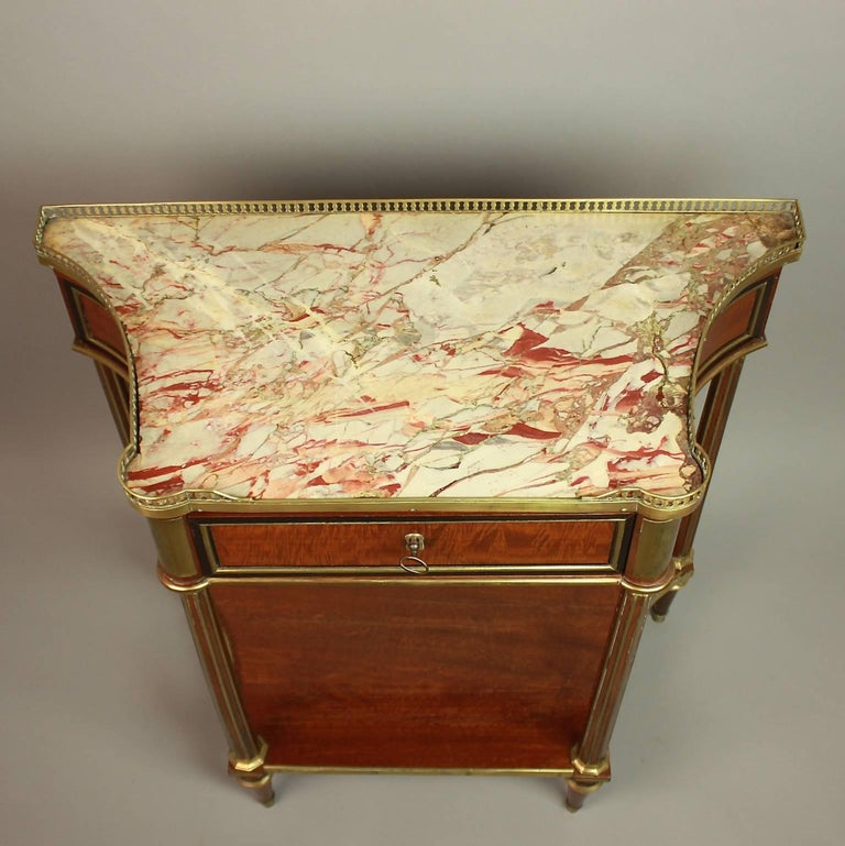 Veneer Louis XVI Gilt Bronze-Mounted Satinwood and Mahogany Console Table For Sale