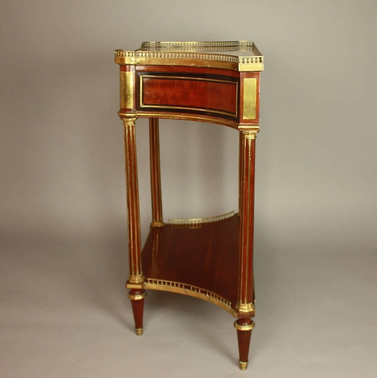 18th Century Louis XVI Gilt Bronze-Mounted Satinwood and Mahogany Console Table For Sale