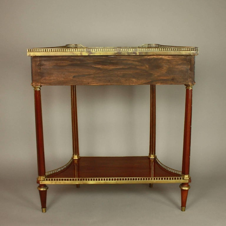 Louis XVI Gilt Bronze-Mounted Satinwood and Mahogany Console Table For Sale 1