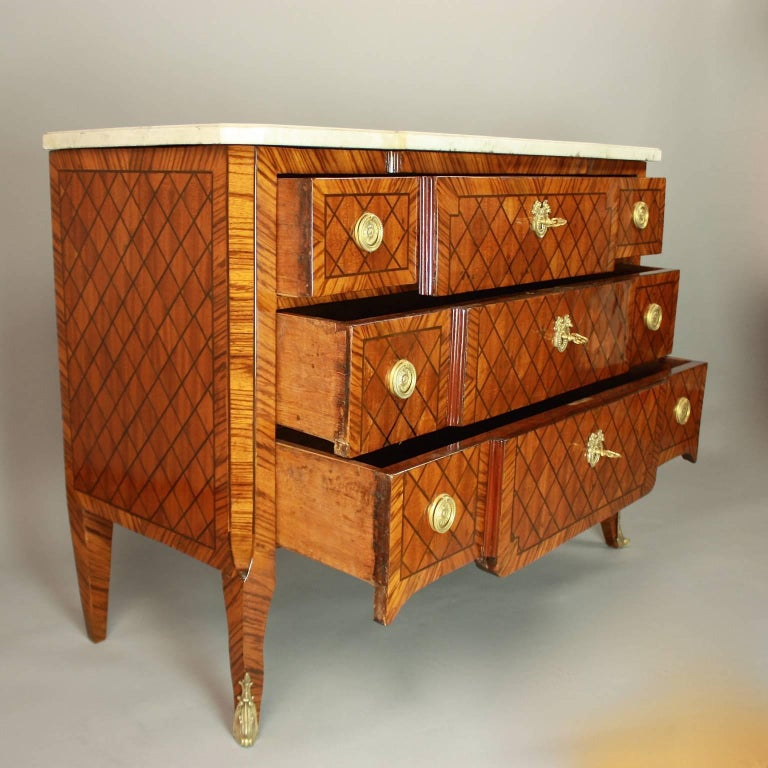 18th Century Transitional Marquetry Break-Front Commode or Chest of Drawers For Sale 3