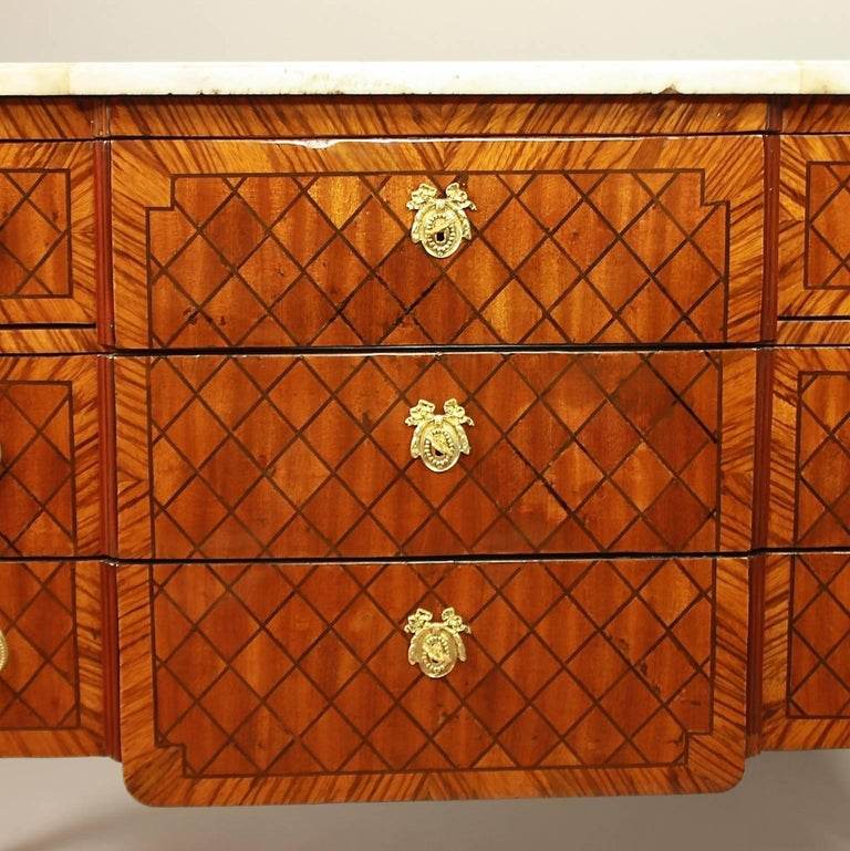Gilt 18th Century Transitional Marquetry Break-Front Commode or Chest of Drawers For Sale