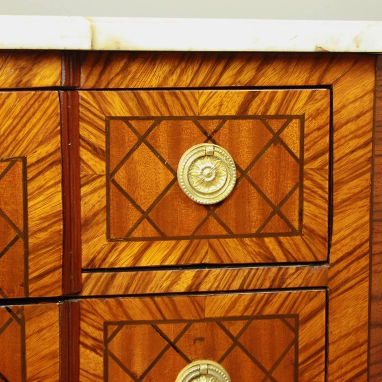 French 18th Century Transitional Marquetry Break-Front Commode or Chest of Drawers For Sale