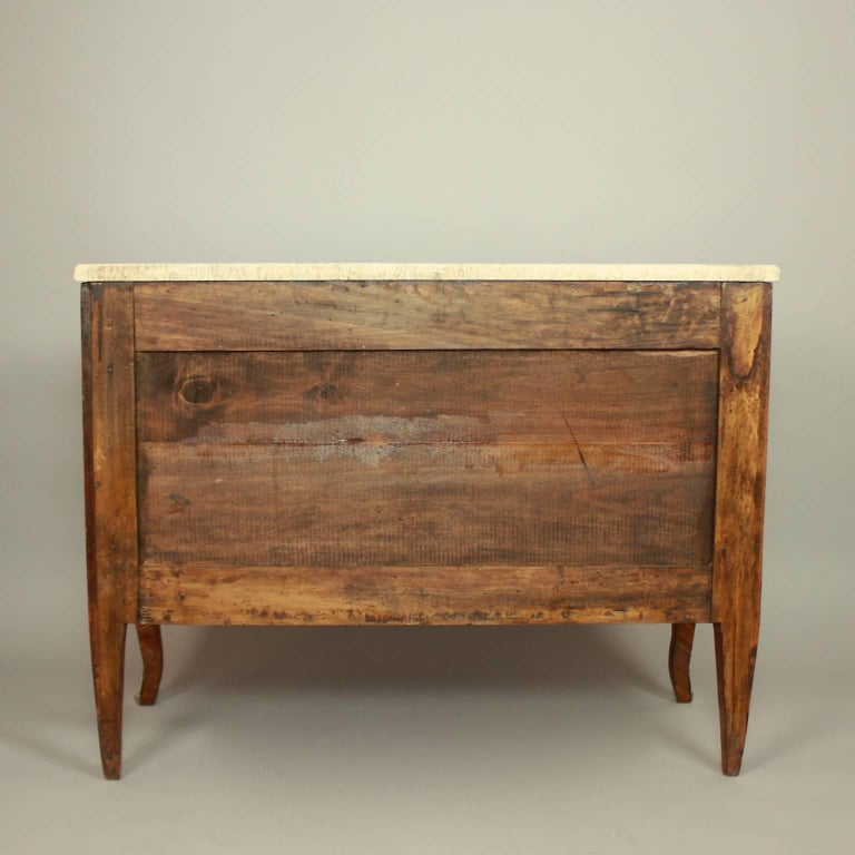 Bronze 18th Century Transitional Marquetry Break-Front Commode or Chest of Drawers For Sale