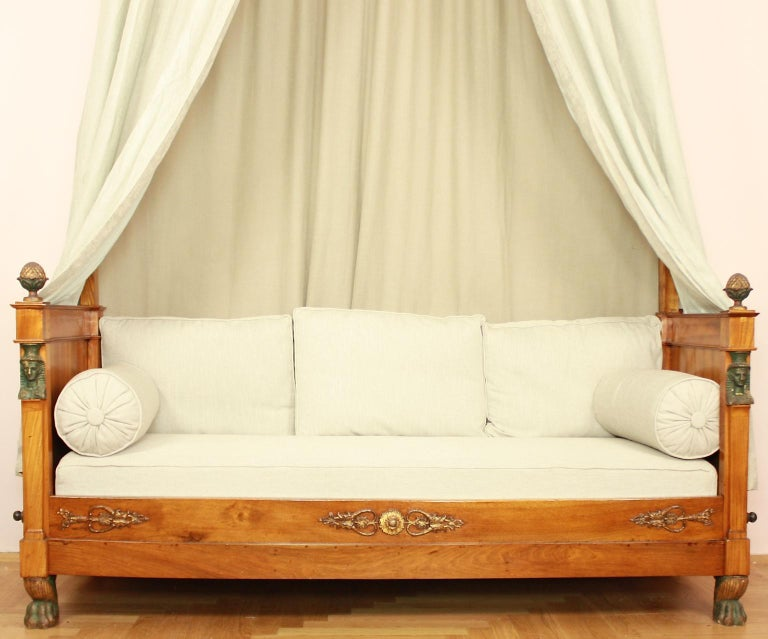 Carved French Empire Daybed with Demilune Canopy, circa 1815 For Sale