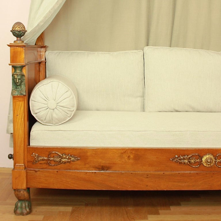 Early 19th Century French Empire Daybed with Demilune Canopy, circa 1815 For Sale
