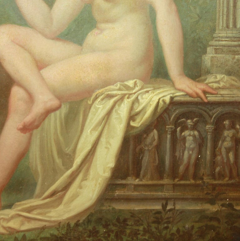Painted Amor Vincit Omnia, Oil on panel, Follower School of Fontainebleau For Sale