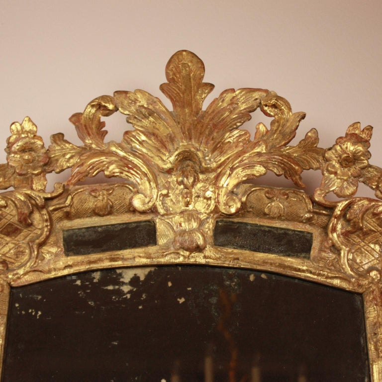 An early 18th century Régence giltwood mirror of slightly arched shape surrounded by marginal mirror plates on all sides set within enriched mouldings. The giltwood cresting of acanthus leaves and flowers overlaps the top bordering mirror plate. The