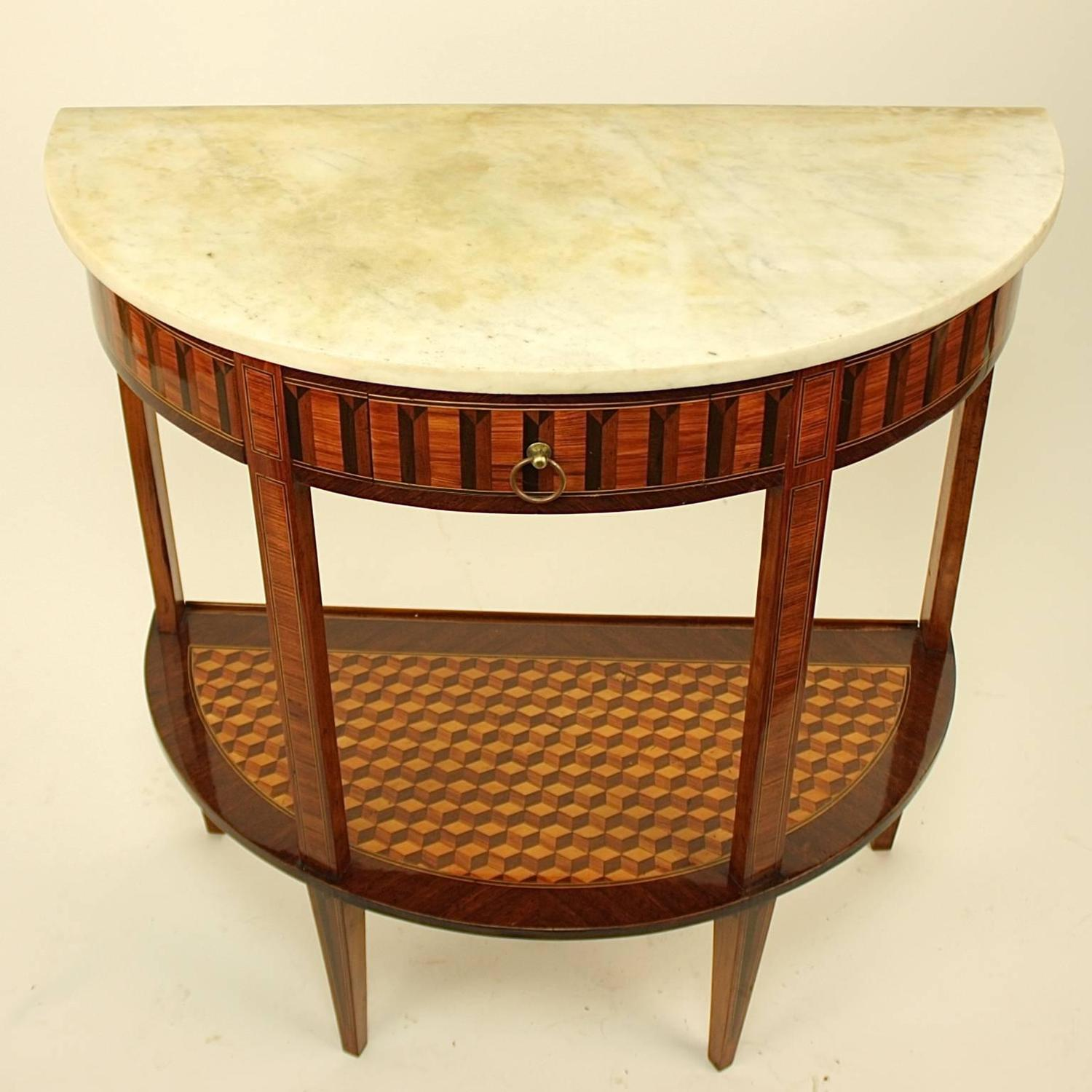 19th century marquetry inlaid demilune console table at 1stdibs White demilune console table