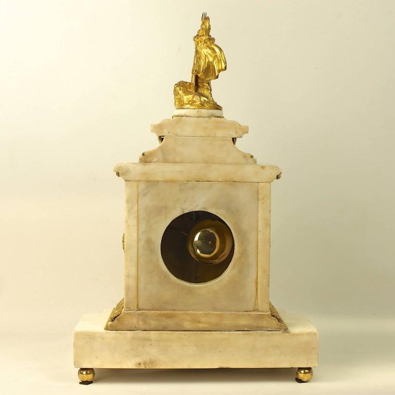 18th Century Large 18th century Louis XVI White Marble Mantel Clock Representing Athena For Sale