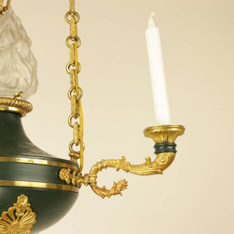 French Empire Style Gilt Bronze and Green Tole Three-Light Chandelier For Sale