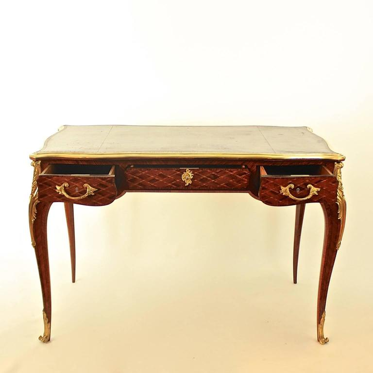 French Small Louis XV Style Gilt Bronze Mounted Marquetry Bureau Plat or Desk