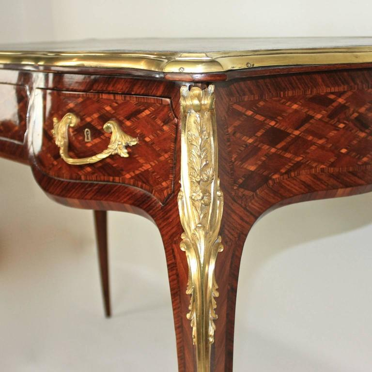 Small Louis XV Style Gilt Bronze Mounted Marquetry Bureau Plat or Desk 2