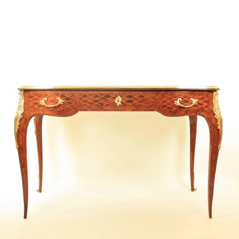 Small Louis XV Style Gilt Bronze Mounted Marquetry Bureau Plat or Desk 4
