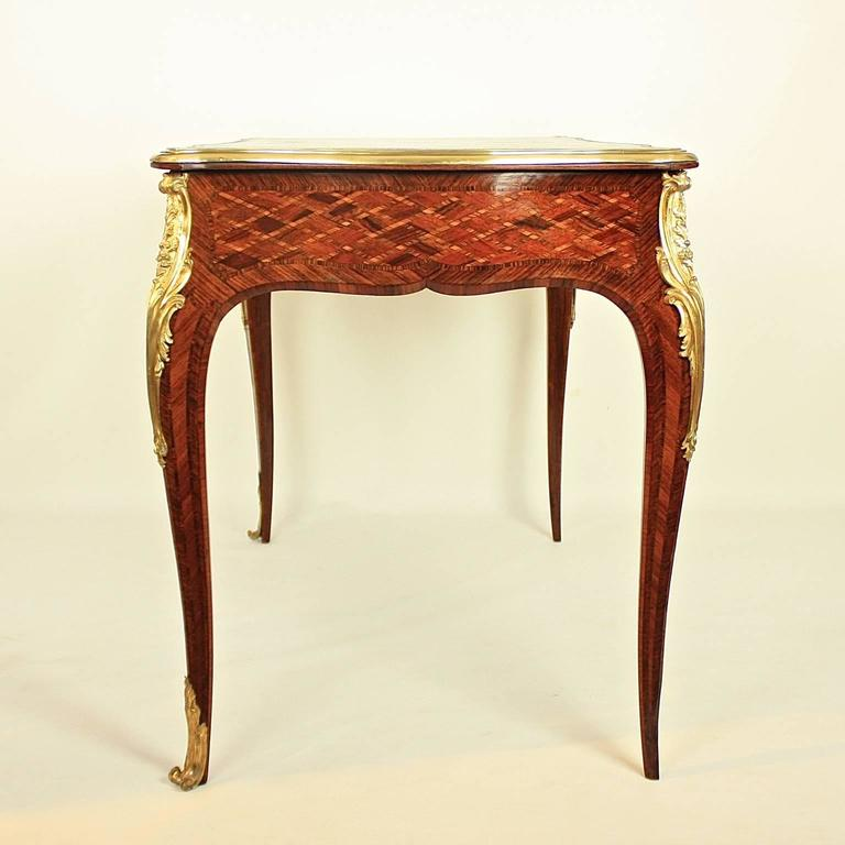 Small Louis XV Style Gilt Bronze Mounted Marquetry Bureau Plat or Desk 5