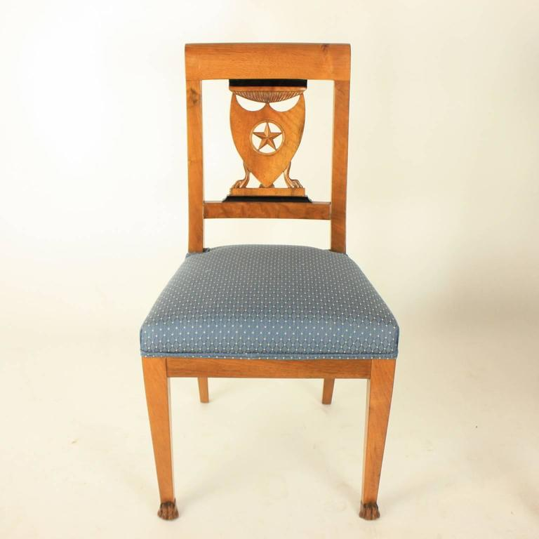 French Set of Six Late 18th Century Directoire Dining Chairs, workshop of P.M. Balny For Sale