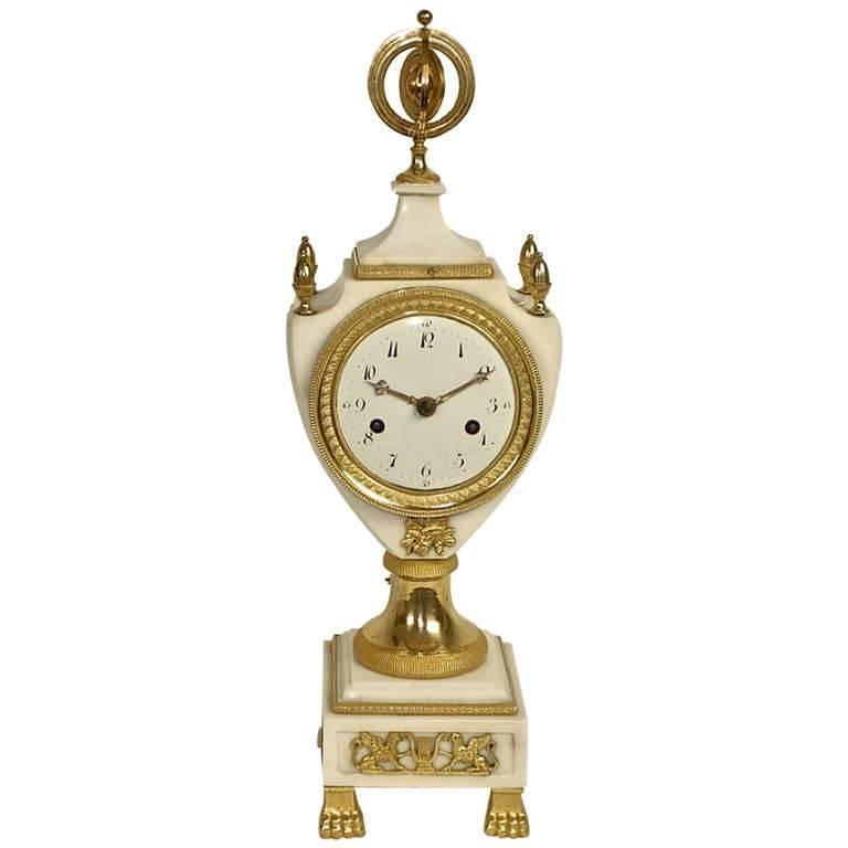 Louis XVI White Marble and Gilt-Bronze Mantle Clock