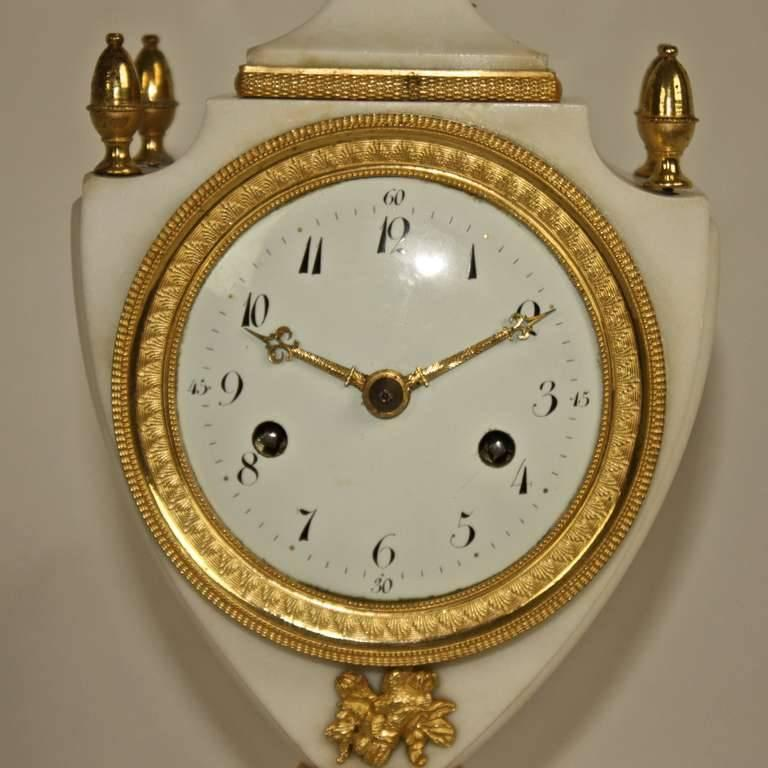 French Louis XVI White Marble and Gilt-Bronze Mantle Clock For Sale