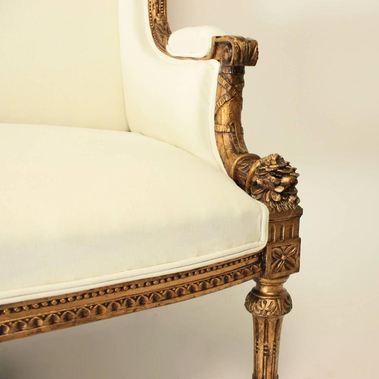 19th Century Louis XVI Style Wingback Giltwood Settee/ Sofa For Sale 1