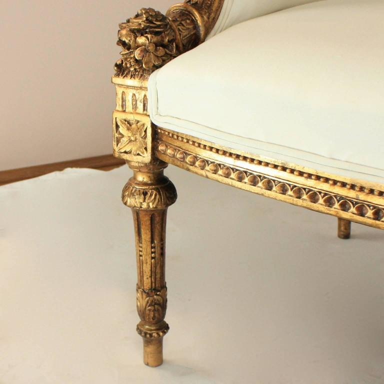 Wood 19th Century Louis XVI Style Wingback Giltwood Settee/ Sofa For Sale