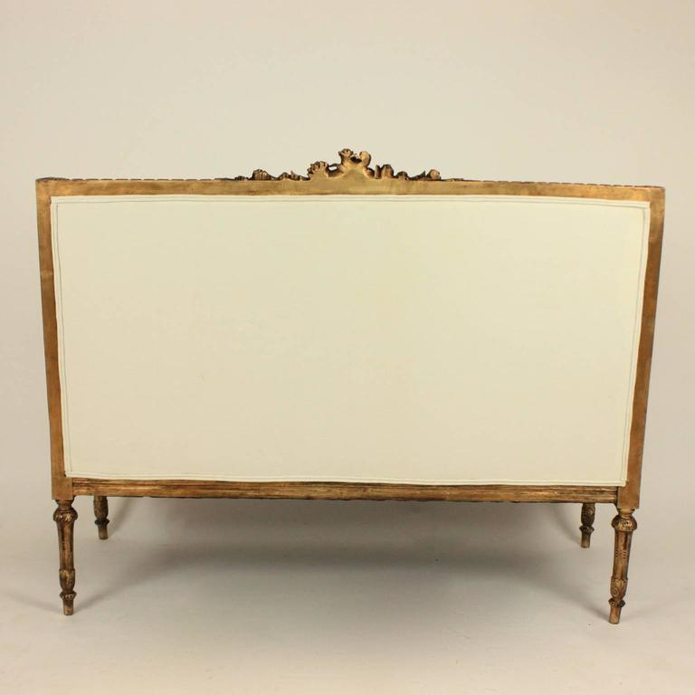 19th Century Louis XVI Style Wingback Giltwood Settee/ Sofa For Sale 2