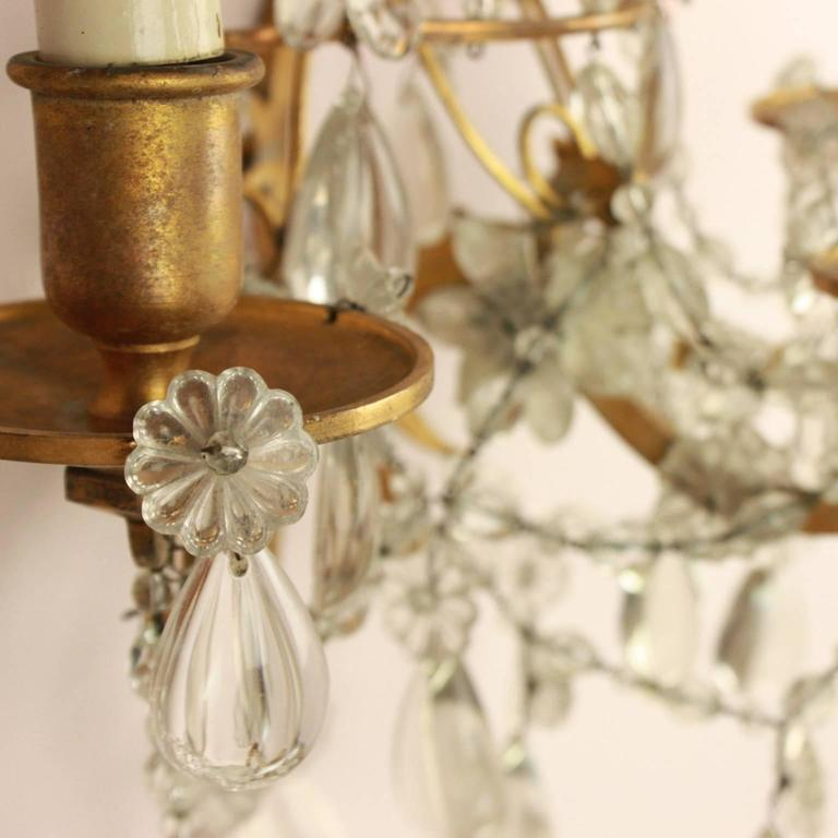 French Pair of Regence Style Maison Bagues Three Branch Wall Sconce, circa 1900 For Sale