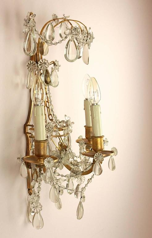 20th Century Pair of Regence Style Maison Bagues Three Branch Wall Sconce, circa 1900 For Sale