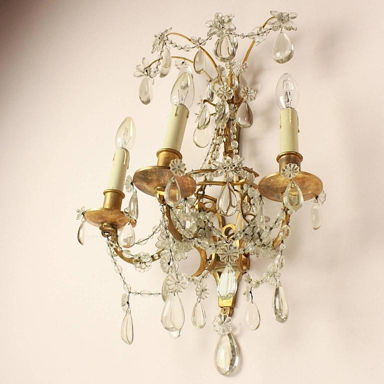 Brass Pair of Regence Style Maison Bagues Three Branch Wall Sconce, circa 1900 For Sale