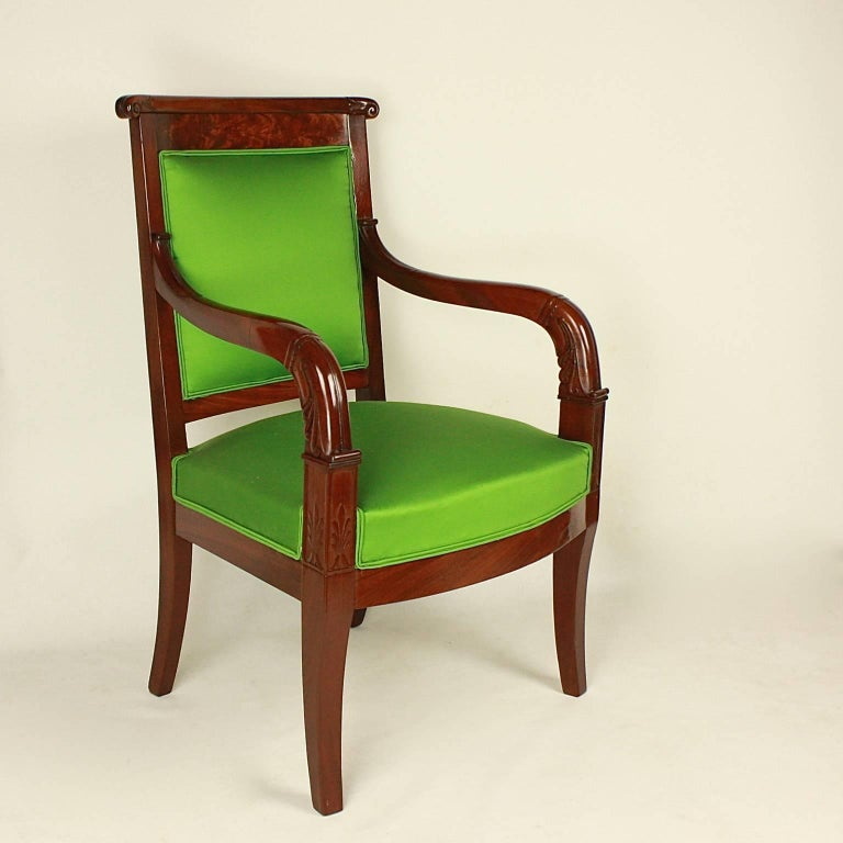 French Pair of Empire Mahogany Armchairs in the Manner of Jacob Desmalter For Sale