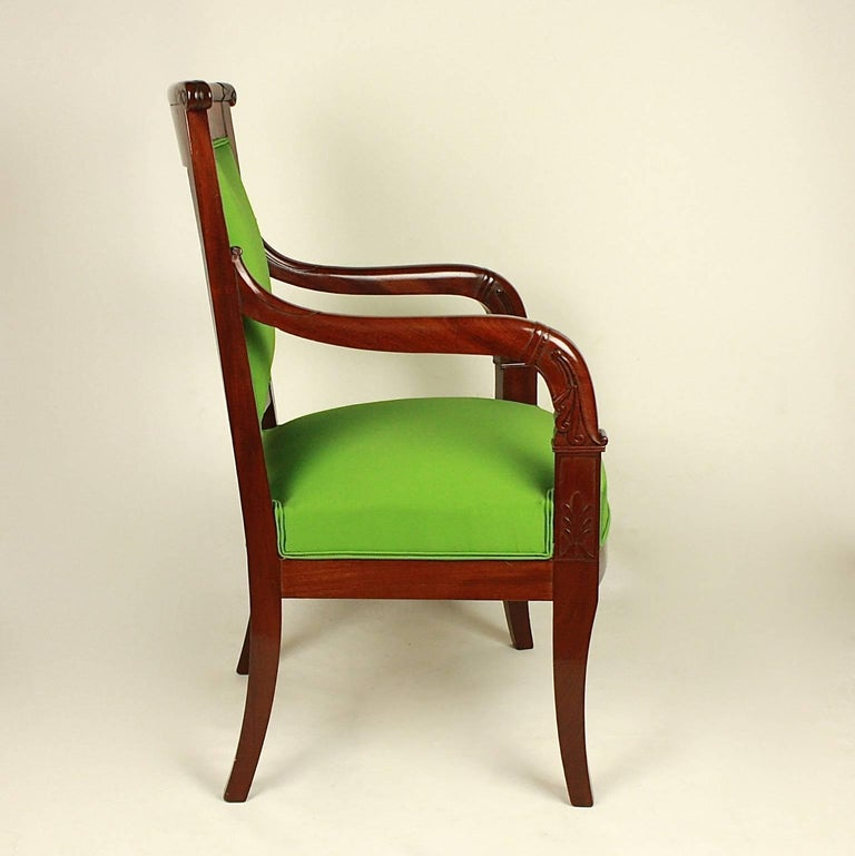 Early 19th Century Pair of Empire Mahogany Armchairs in the Manner of Jacob Desmalter For Sale