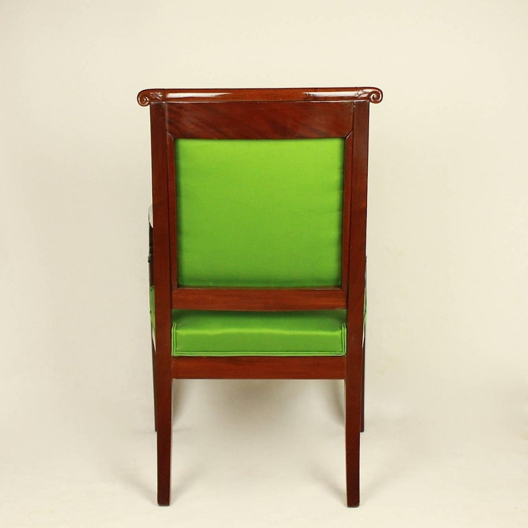 Pair of Empire Mahogany Armchairs in the Manner of Jacob Desmalter For Sale 1