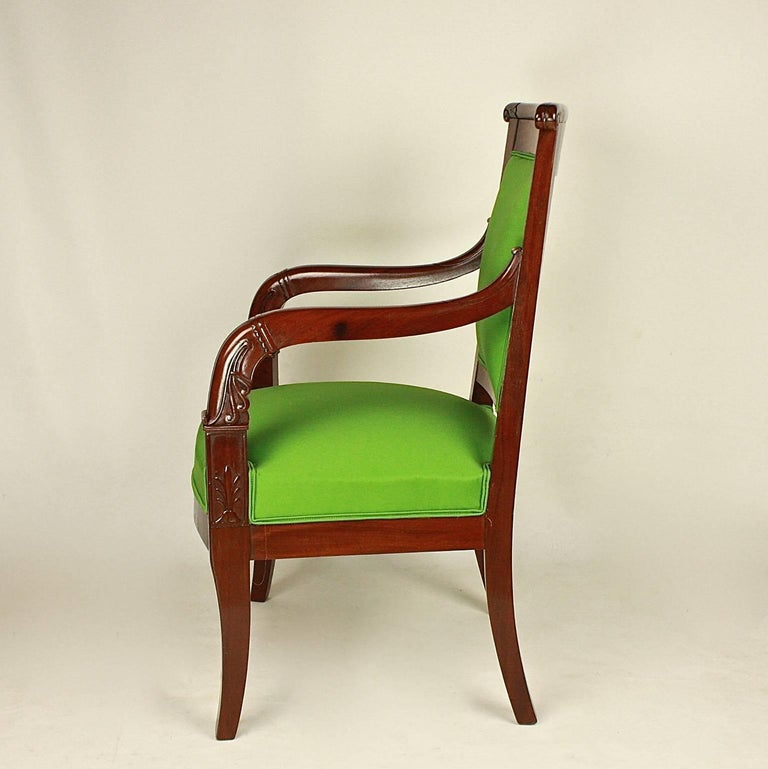 Pair of Empire Mahogany Armchairs in the Manner of Jacob Desmalter For Sale 2