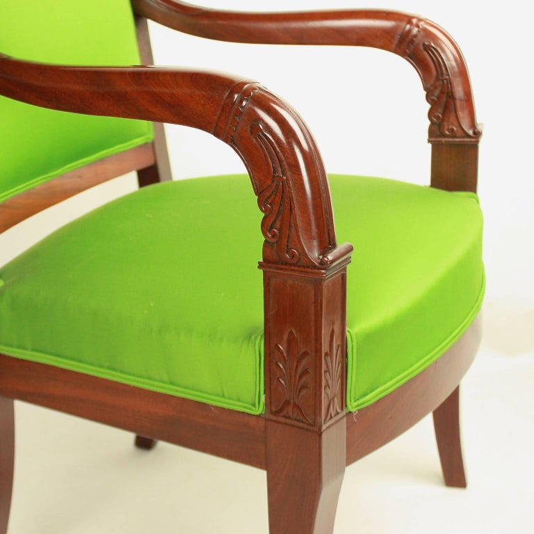 Carved Pair of Empire Mahogany Armchairs in the Manner of Jacob Desmalter For Sale