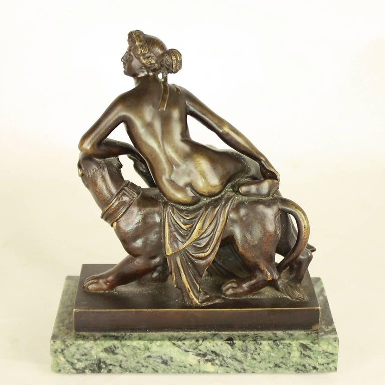 Patinated Small Bronze Sculpture of 'Ariadne Riding a Panther' after Dannecker For Sale