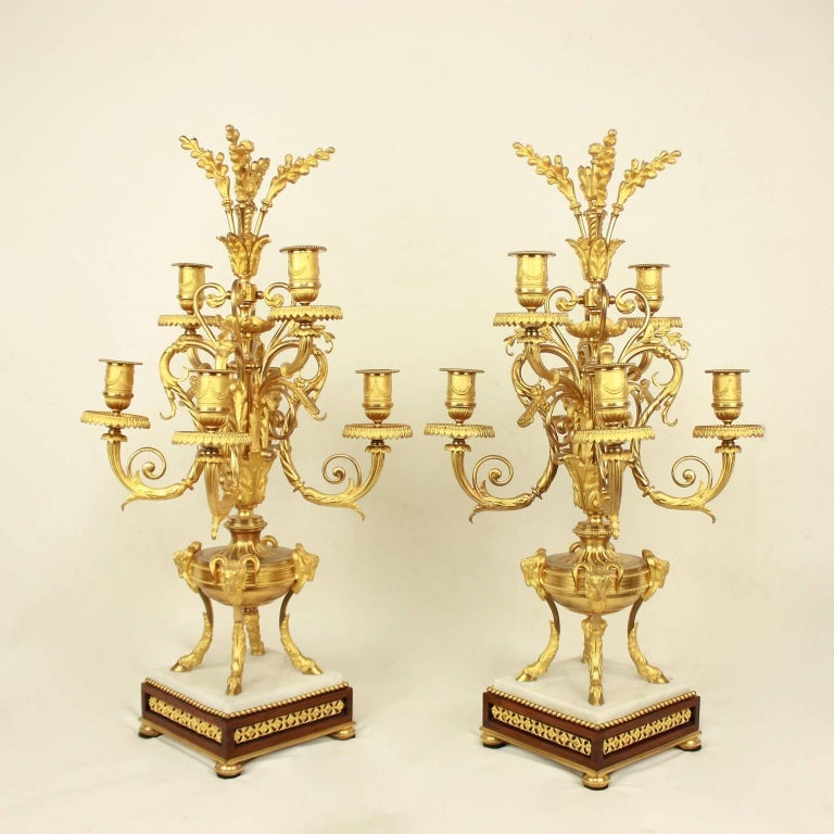 French Pair of Louis XVI Style Ormolu Candelabras For Sale