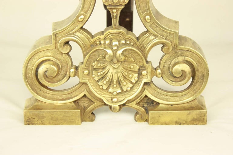 French Pair of Regence Style Brass  Andirons or Fire Dogs For Sale