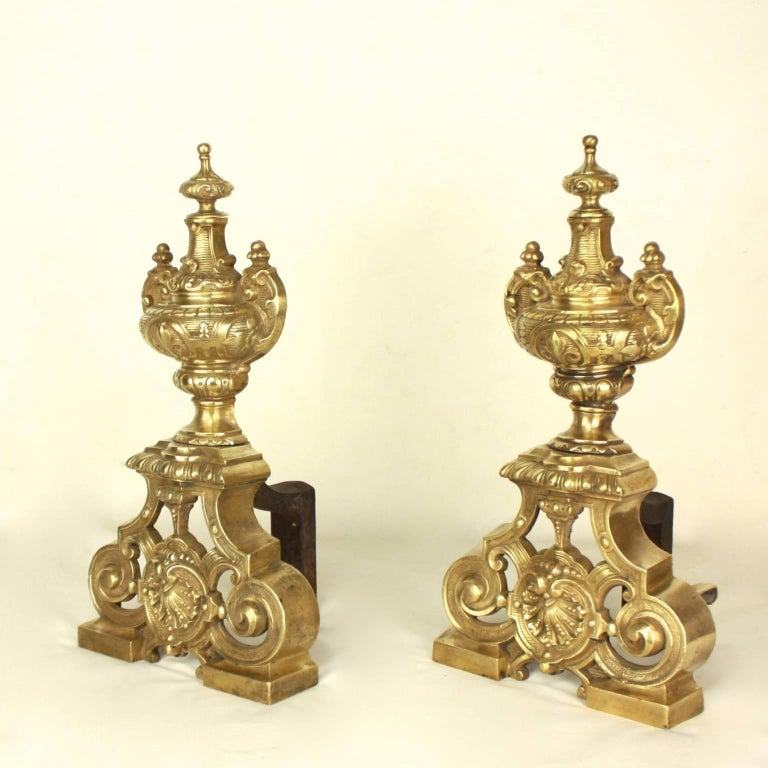 Pair of Regence Style Brass  Andirons or Fire Dogs For Sale 1