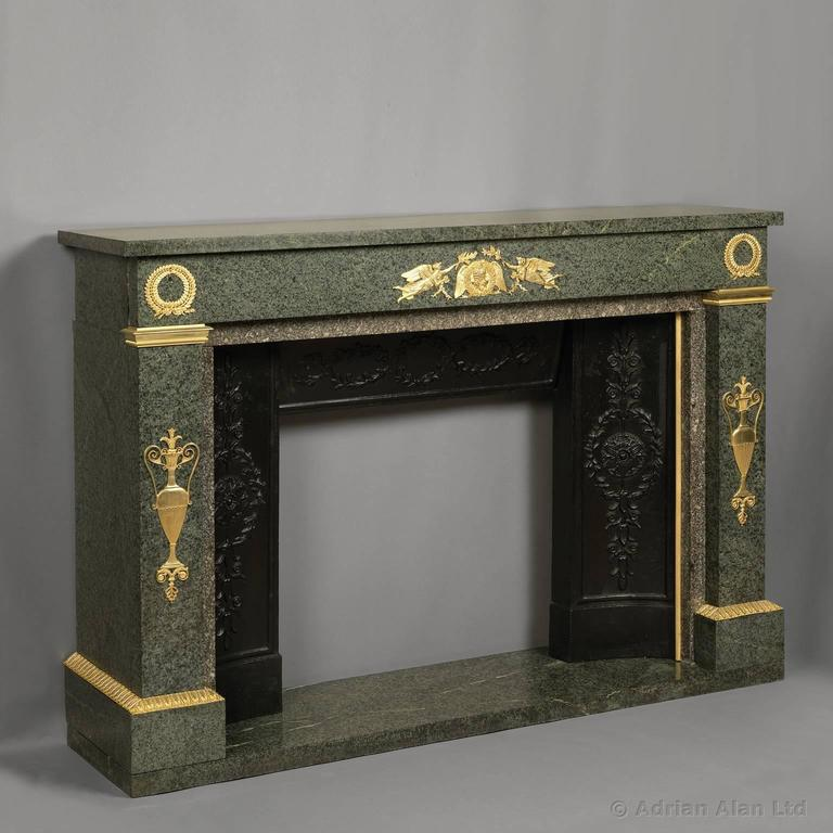 Empire Style Gilt Bronze-Mounted Green Granite Fireplace, French, circa 1850 2