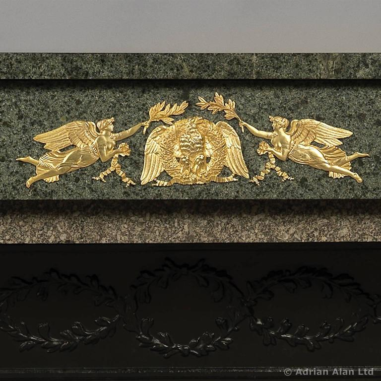 Empire Style Gilt Bronze-Mounted Green Granite Fireplace, French, circa 1850 3