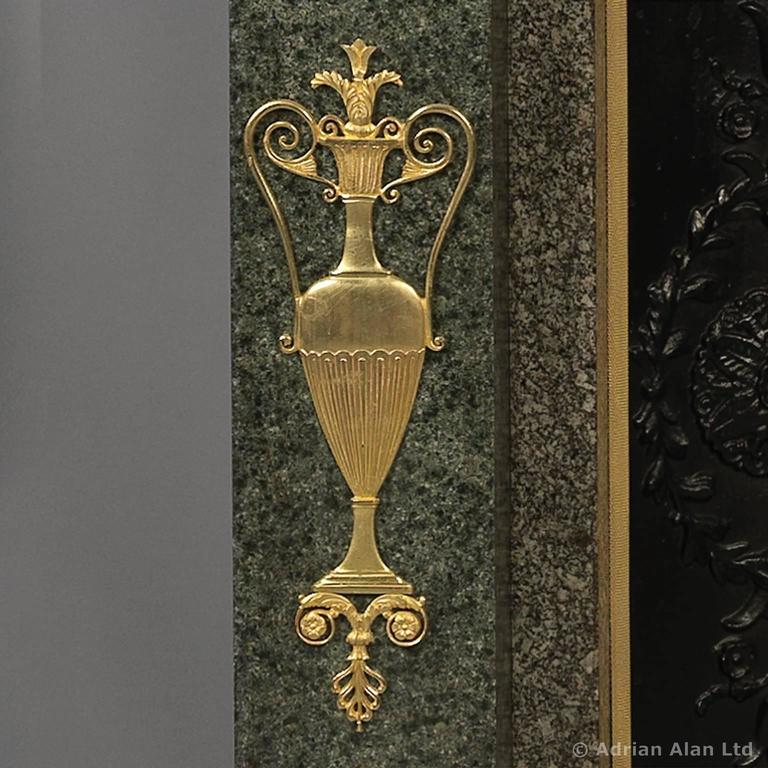 Empire Style Gilt Bronze-Mounted Green Granite Fireplace, French, circa 1850 4