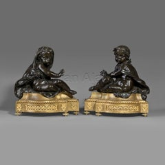 Pair of Louis XVI Style Gilt and Patinated Bronze Chenets
