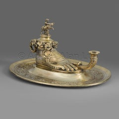 Roman Lamp Inkwell on Stand by Elkington & Co.