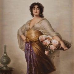 KPM Porcelain Plaque Depicting a Woman