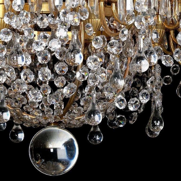French Louis XVI Style Cut-Glass Thirty-two-light Chandelier, circa 1890 For Sale